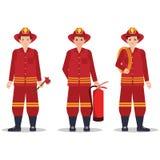 Pompier avec le casque tenant l'équipement illustration libre de droits