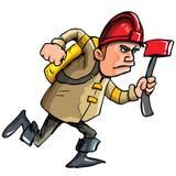 Pompier de dessin animé exécutant avec une hache Image stock