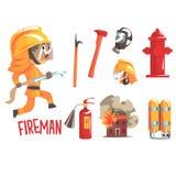 Pompier de garçon, illustration professionnelle de profession de futur pompier rêveur d'enfants avec connexe aux objets de profes Photographie stock libre de droits