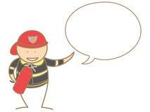 Pompier parlant dans la bulle Photographie stock libre de droits