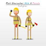 Pompier plat de caractère Photographie stock