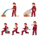 Pompier s'éteignant l'ensemble du feu d'isolement sur le fond blanc Personnage de dessin animé plat de sapeur-pompier illustration libre de droits