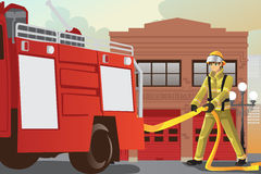 Pompier travaillant illustration de vecteur