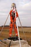 Pompier travaillant sous terre Photo libre de droits