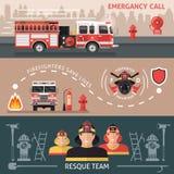 Pompiere Banner Set Immagini Stock