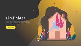 Pompiere che usando lo spruzzo d'acqua dal tubo flessibile per la casa di combustione di estinzione di incendio vigile del fuoco  illustrazione vettoriale
