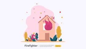 Pompiere che usando lo spruzzo d'acqua dal tubo flessibile per la casa di combustione di estinzione di incendio vigile del fuoco  royalty illustrazione gratis