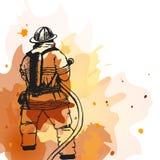Pompiere con un segno del tubo flessibile Fotografia Stock