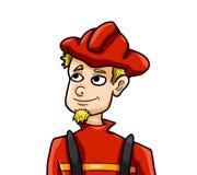 Pompiere divertente della bionda del fumetto illustrazione di stock