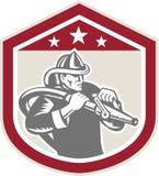 Pompiere Fire Hose Shield del vigile del fuoco retro illustrazione vettoriale