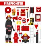 Pompiere Icons Set di professione con l'attrezzatura dei pompieri Immagini Stock