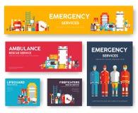 Pompiere, rafting, polizia, insieme del modello delle carte di salvataggio della medicina Icona piana di flyear, riviste, manifes illustrazione vettoriale