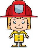 Pompiere sorridente Girl del fumetto Fotografia Stock Libera da Diritti