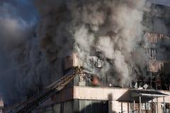 Pompiere su fuoco Immagini Stock Libere da Diritti