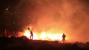 pompieri all'incendio forestale di notte stock footage