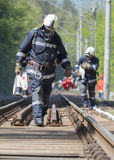 Pompieri di arresto di treno dell'autocisterna Fotografie Stock
