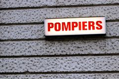 Pompiers french traffic sign Paris France Firemen rescuer alert stock images