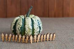 Pompoen achter stuk speelgoed houten omheining Het concept van Royalty-vrije Stock Fotografie