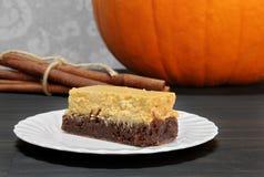 Pompoen Brownie Cheesecake Bars Stock Foto