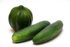 Pompoen en komkommers royalty-vrije stock afbeelding