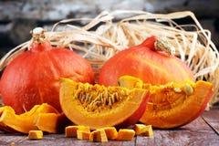 Pompoen en pompoenplakken Autumn Healthy Food Nutrition Seasona Stock Fotografie