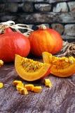Pompoen en pompoenplakken Autumn Healthy Food Nutrition Seasona Royalty-vrije Stock Foto