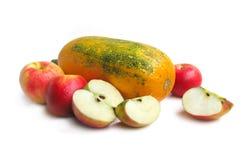 Pompoen en rode appelen Stock Fotografie