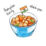 Pompoen Indisch voedsel Geïsoleerde watercolor Stock Foto