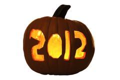 Pompoen van Halloween sneed 2012 Lit door Kaars Stock Fotografie