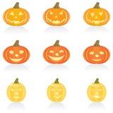 Pompoen van Halloween van het pictogram de vastgestelde Stock Afbeelding