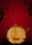 Pompoenduivel in de rode nacht van Halloween Royalty-vrije Stock Afbeelding