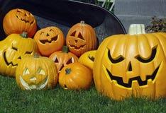 Pompoenen en hefboom-o-lantaarns Stock Fotografie