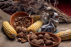 Pompoenen, graan, noten en Amerikaanse veenbessen op stof stock foto