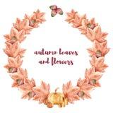 Pompoenen, kaarsen, esdoornbladeren, eiken bladeren achtergrond voor Halloween watercolor stock illustratie
