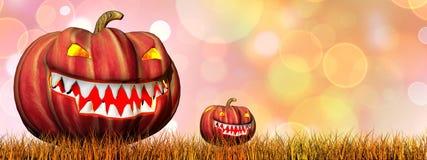 Pompoenen voor 3D Halloween - geef terug Stock Foto's
