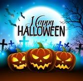 Pompoenen voor gelukkig Halloween in de begraafplaats met griezelig gezicht royalty-vrije illustratie