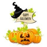 Pompoenen voor Halloween en houten uithangbord Stock Foto's