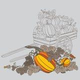 Pompoenen in wagen, met de kleuren van de dalingsherfst Stock Foto's