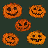 Pompoenenachtergrond voor Halloween Vector illustratie Royalty-vrije Stock Afbeeldingen