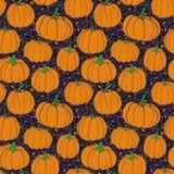 Pompoenenpatroon met terrazzo blauwe details als achtergrond De herfst naadloos vectorpatroon met hand getrokken pompoenen vector illustratie