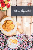 Pompoenpannekoeken op de houten achtergrond Stock Foto