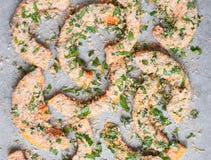 Pompoenplakken met kruiden klaar voor het roosteren close-up Royalty-vrije Stock Afbeelding