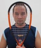 Pompoenspeler met racket Stock Foto's