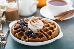 Pompoenwafels met slagroom voor ontbijt stock afbeeldingen