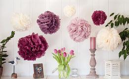 PomPom decoration. Beautiful pompom decoration at home Royalty Free Stock Photo