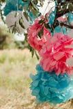 Pompoms cor-de-rosa e azuis na festa de anos exterior Fotografia de Stock
