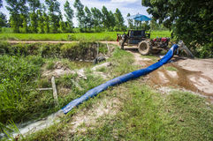 Pompować wodę Jaśminowi ryżowi pola zdjęcie stock