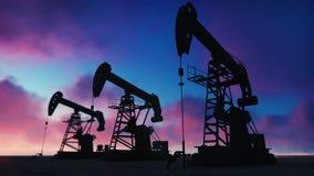 Pompowej dźwigarki przemysłowa maszyna dla rop naftowych w zmierzchu Sylwetka pompowa dźwigarka pompuje olej przeciw czerwonemu n ilustracji