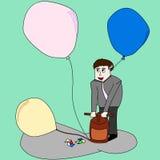 Pompowy balon dla pisze coś Fotografia Royalty Free