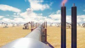 Pompowy Jack i rurociąg dla oleju na słonecznym dniu Rurociąg transportu olej lub gaz naturalny Realistyczna filmowa animacja ilustracji